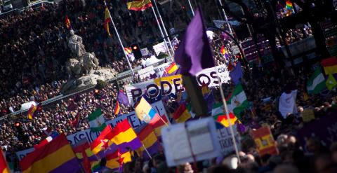 Más de 100.000 personas han participado este sábado en la Marcha del Cambia, convocada por Podemos en Madrid. -JAIRO VARGAS