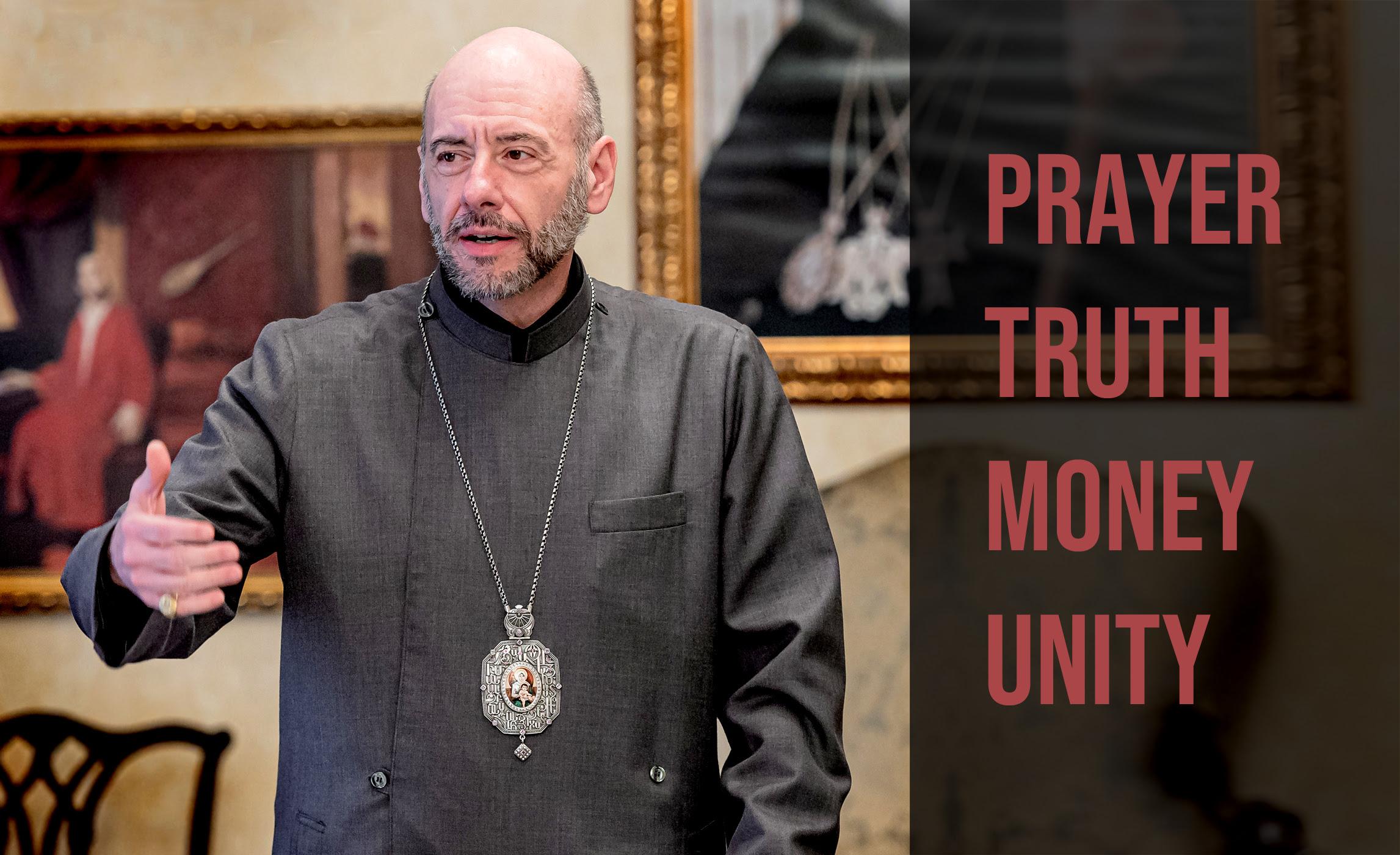 BDF explaining (Prayer, Truth, Money, Unity)
