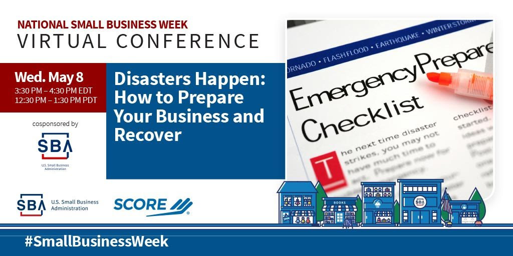 NSBW Virtual Conference webinar, Disasters Happen: How to Prepare Your Business and Recover on May eighth at three-thirty pm eastern standard time