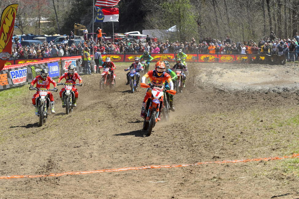 Kailub Russell started off the day by earning the $250 All Balls Racing Holeshot Award.