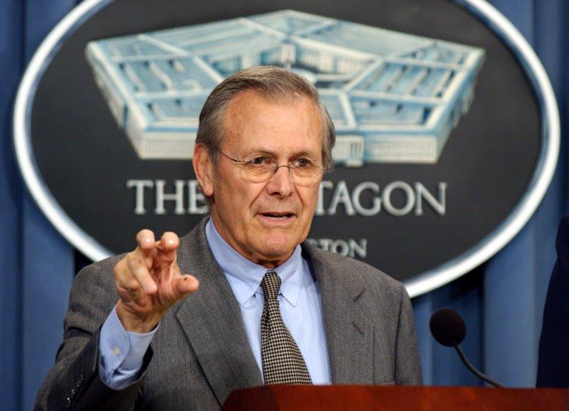 Secretary of Defense Donald Rumsfeld in 2003. Photo by Roger L. Wollenberg/UPI