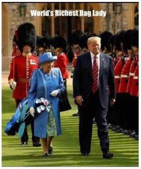Queen carries Trump bag