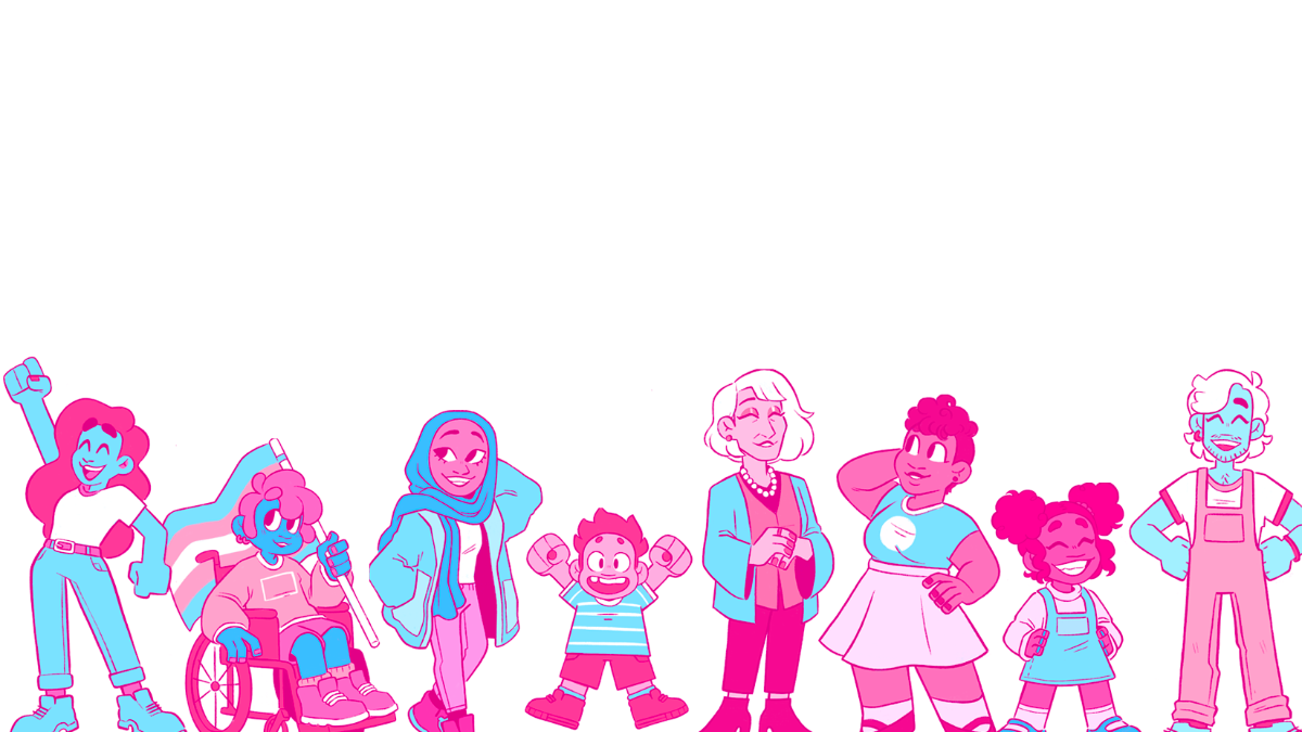 cartoon pink and blue TGD characters