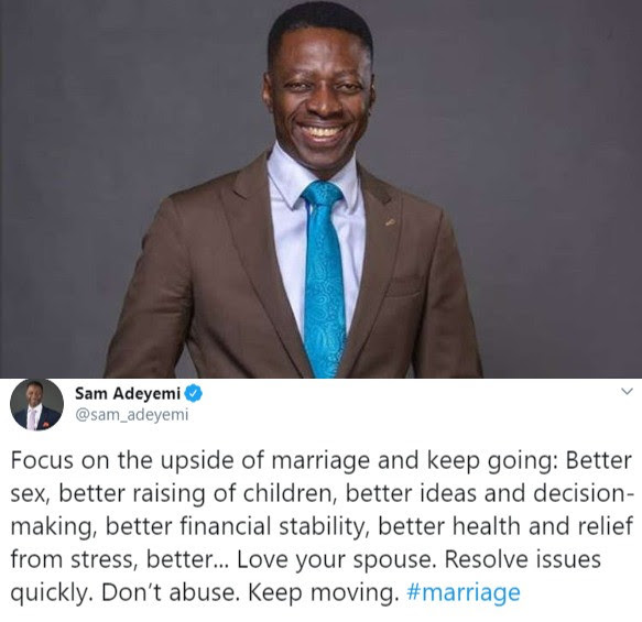 'Better Sex' – Pastor Sam Adeyemi Lists Gains of Getting Married