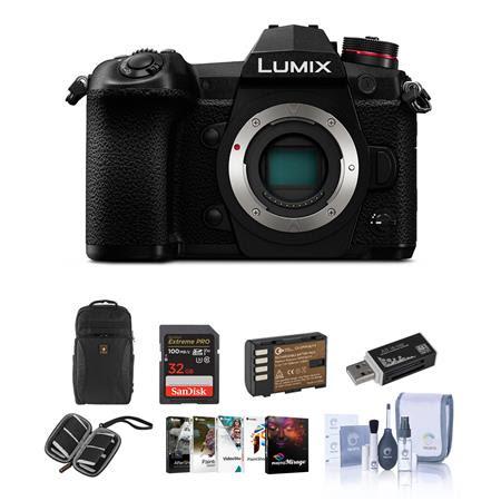 Lumix G9 Mirrorless Camera Body, Black - Bundle With 32GB SDHC U3 Card, Spare Battery, Cam