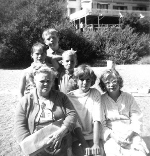 Russian River about 1962 me front right, cousins Michelle, Ricky, Yvonne, and brother Mike with Grandma Ethel