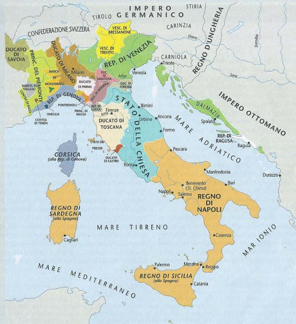 Le guerre d'Italia (1494-1559): l'Italia dopo la pace di Cateau-Cambrésis