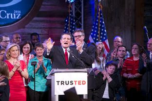 Sen. Ted Cruz gives victory speech at hus election night party in Stafford, Texas March 1, 2016