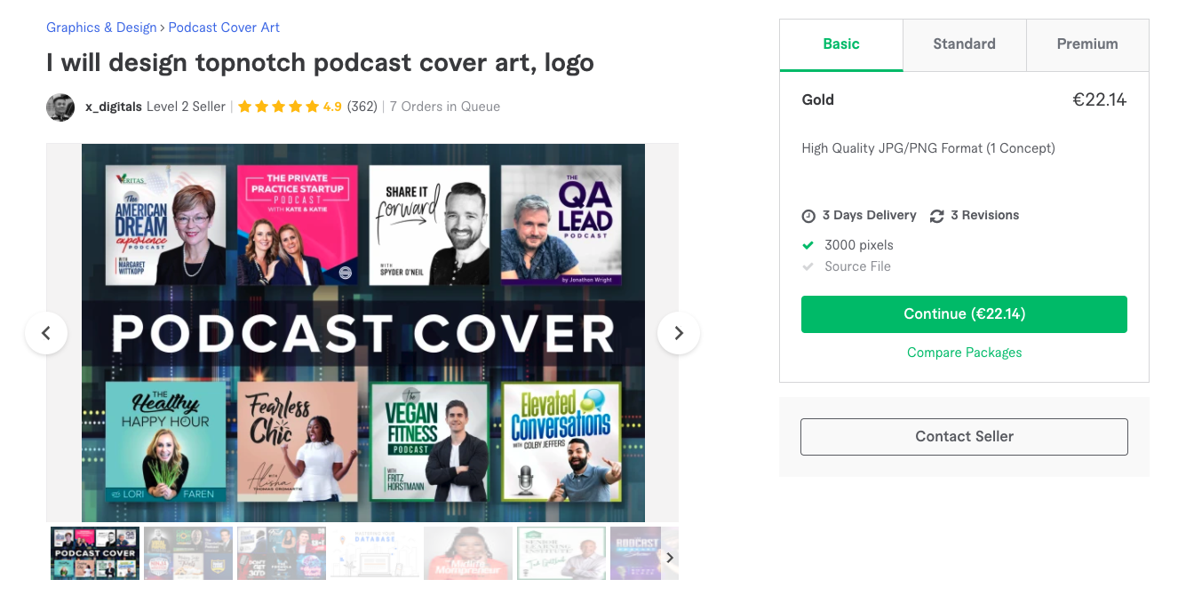 Fiverr - Podcast kapak görseli hizmeti