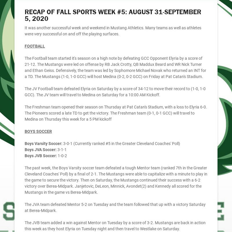 RECAP OF FALL SPORTS WEEK #5: AUGUST 31-SEPTEMBER 5, 2020 It was another successful week and...