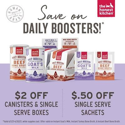 Get $2.00 OFF all Broth and Goat Milk Cannisters/ Full Boxes of Sachets. Get $.50 OFF Individual Sachet Packs of Hydration Boosters