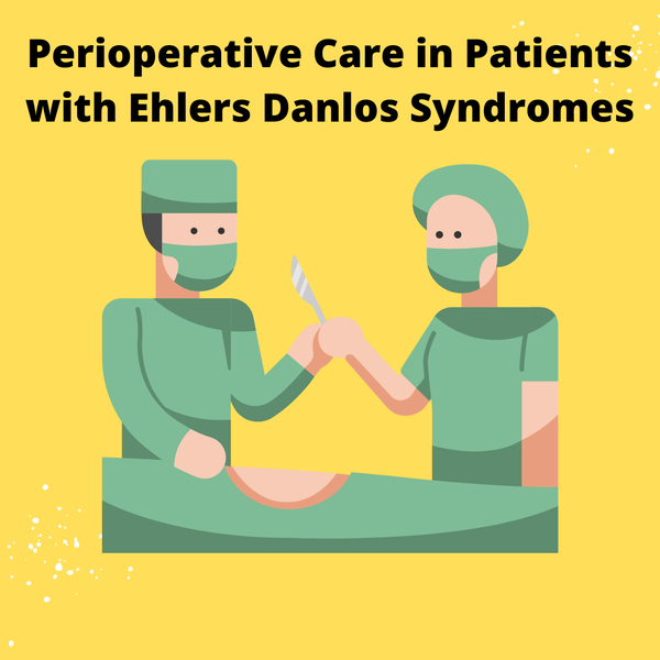Two surgeons with a scalpel. Text: Periooperative Care in Patients with Ehlers-Danlos Syndromes