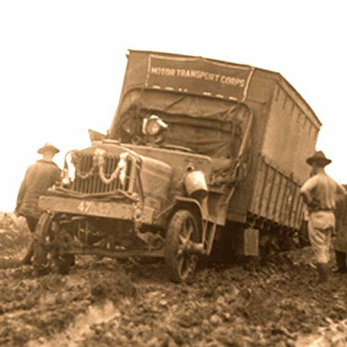 Truck stuck in the mud during Ike's Big Road Trip