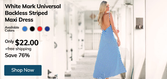White Mark Universal Backless Striped Maxi Dress