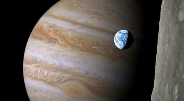 jupiter  o maior planeta e a terra