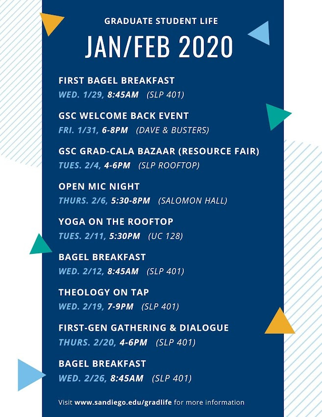 January and February Calendar of Events 2020
