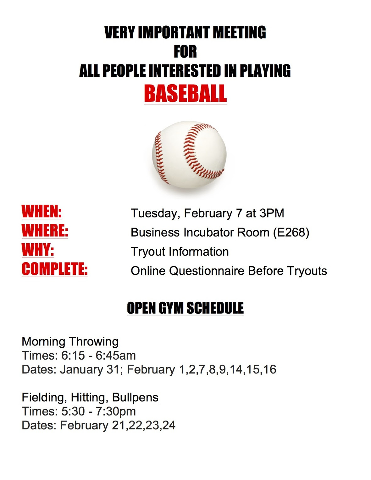 Tryout flyer for school 2017