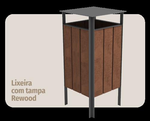 móvel para área externa: lixeira com tampa de madeira plástica rewood que não estraga com sol ou chuva