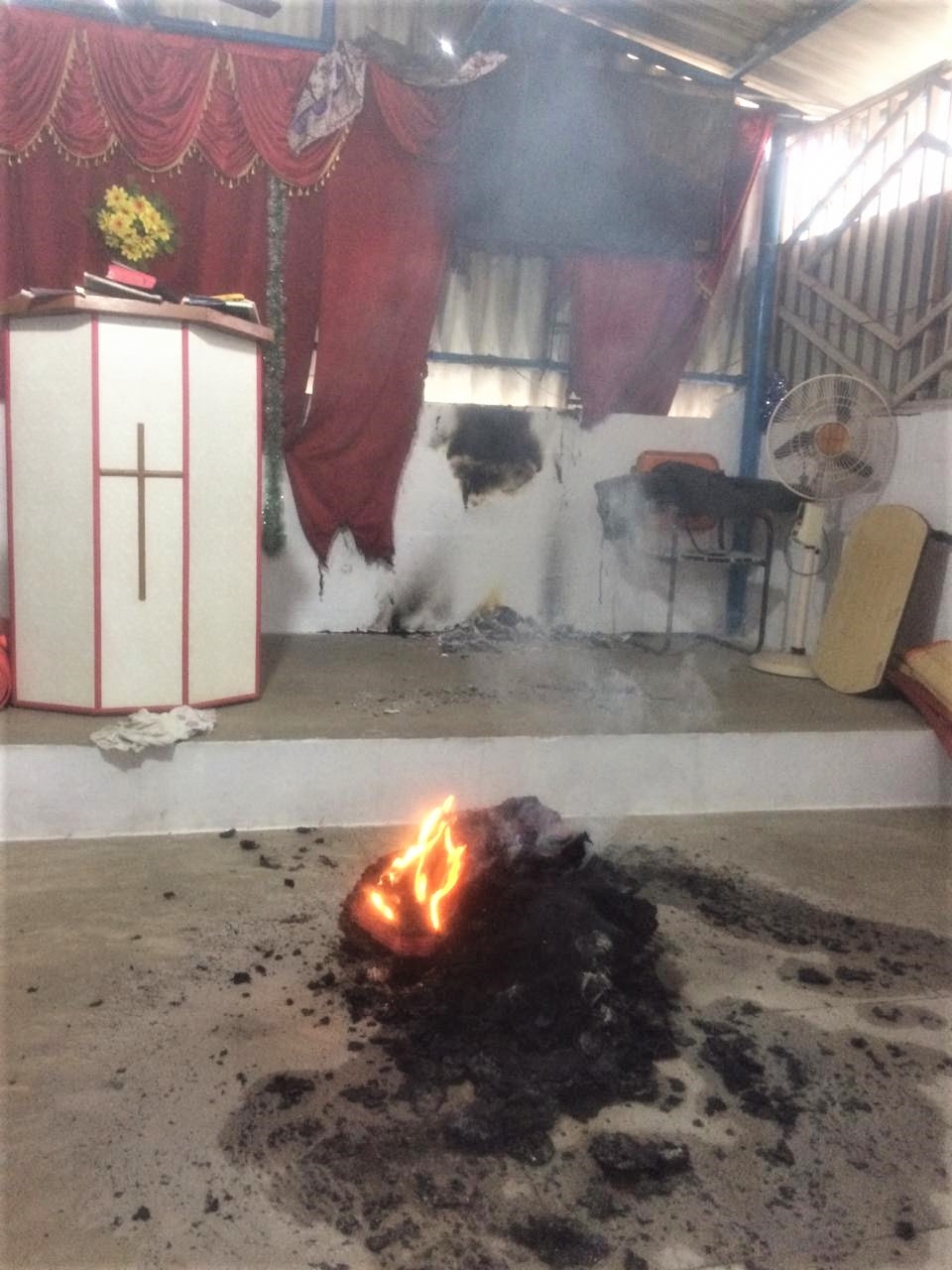 Hindu extremists are suspected in fire set inside building of church in Musiri village, Tamil Nadu. (Morning Star News)