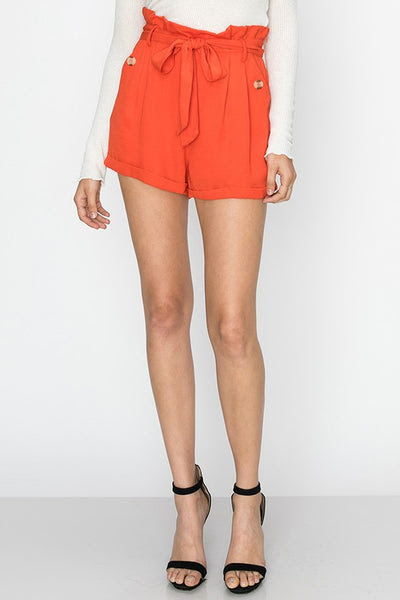 high waist shorts with sash belt - by Favlux - available at rkcollections.myshopify.com - Orange / LARGE - Shorts