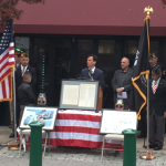 Mayor Noam Bramson speaks on Veterans Day 2015. (Photo credit: James O'Toole)
