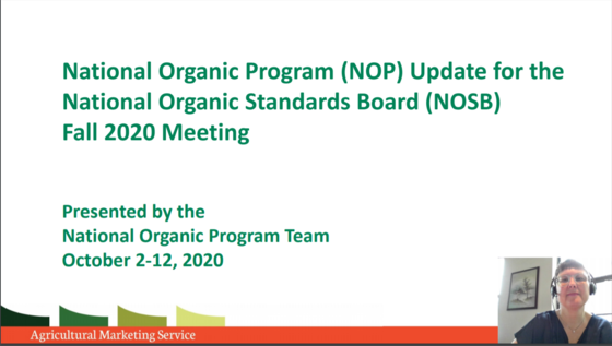 NOP Update for FA 2020 NOSB Meeting