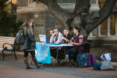 A Right to Life group set up a table at Georgetown University in Washington.