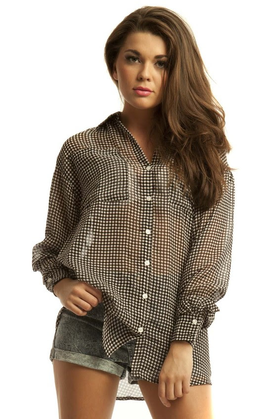Tia Checked Monochrome Chiffon Blouse in Black