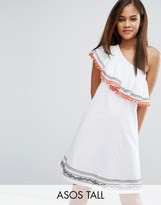 ASOS Tall ASOS TALL One Shoulder Sundress with Geo-Tribal Trims and Pom Poms