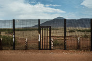 A border fence constructed by United States Homeland Security on John Ladd's property in Naco, Ariz.