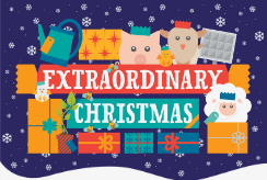 A colourful logo reading 'Extraordinary Gifts' sits against a snowy backdrop, surrounded by presents.