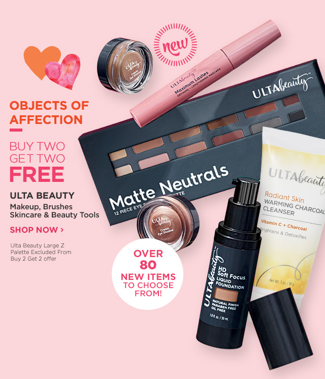 Buy two get two free! Ulta Beauty Makeup, Brushes, Skincare and Beauty Tools. Shop Now. *Ulta Beauty Large Z Palette Excluded from Buy 2 Get 2 offer.