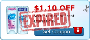 $1.10 off Secret Outlast or Scent Expressions