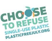 rainbow text saying plastic free july