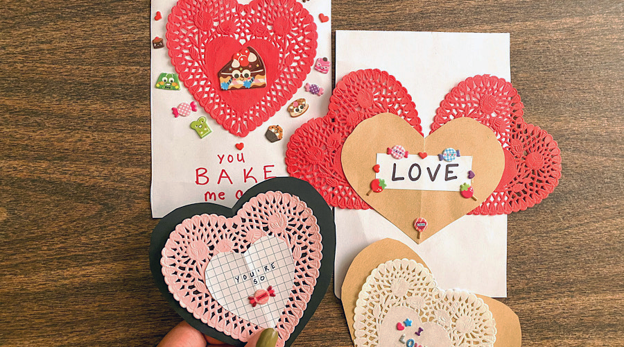 OOLY handmade valentines cards with craft paper and doilies
