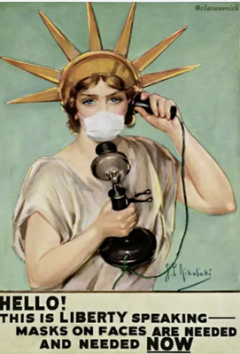 Miss Liberty with mask