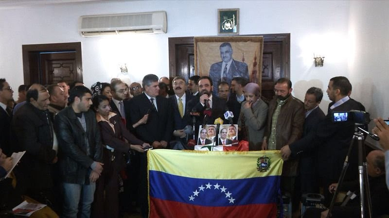 Se acercaron a la Embajada de Venezuela en El Cairo  donde entregaron al embajador, Juan Antonio Hernandez.