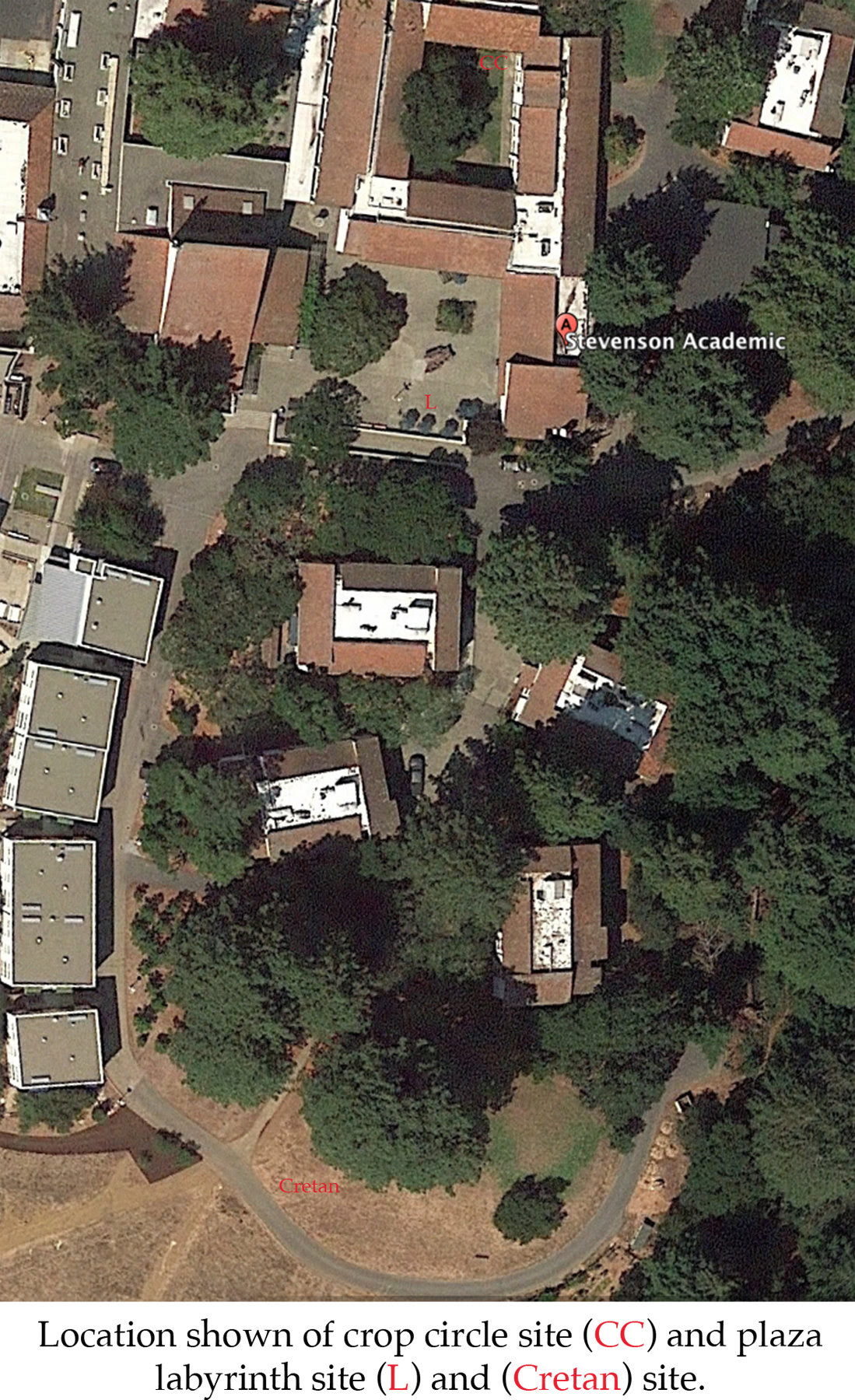 google birds eye view of stevensens college, santa cruz