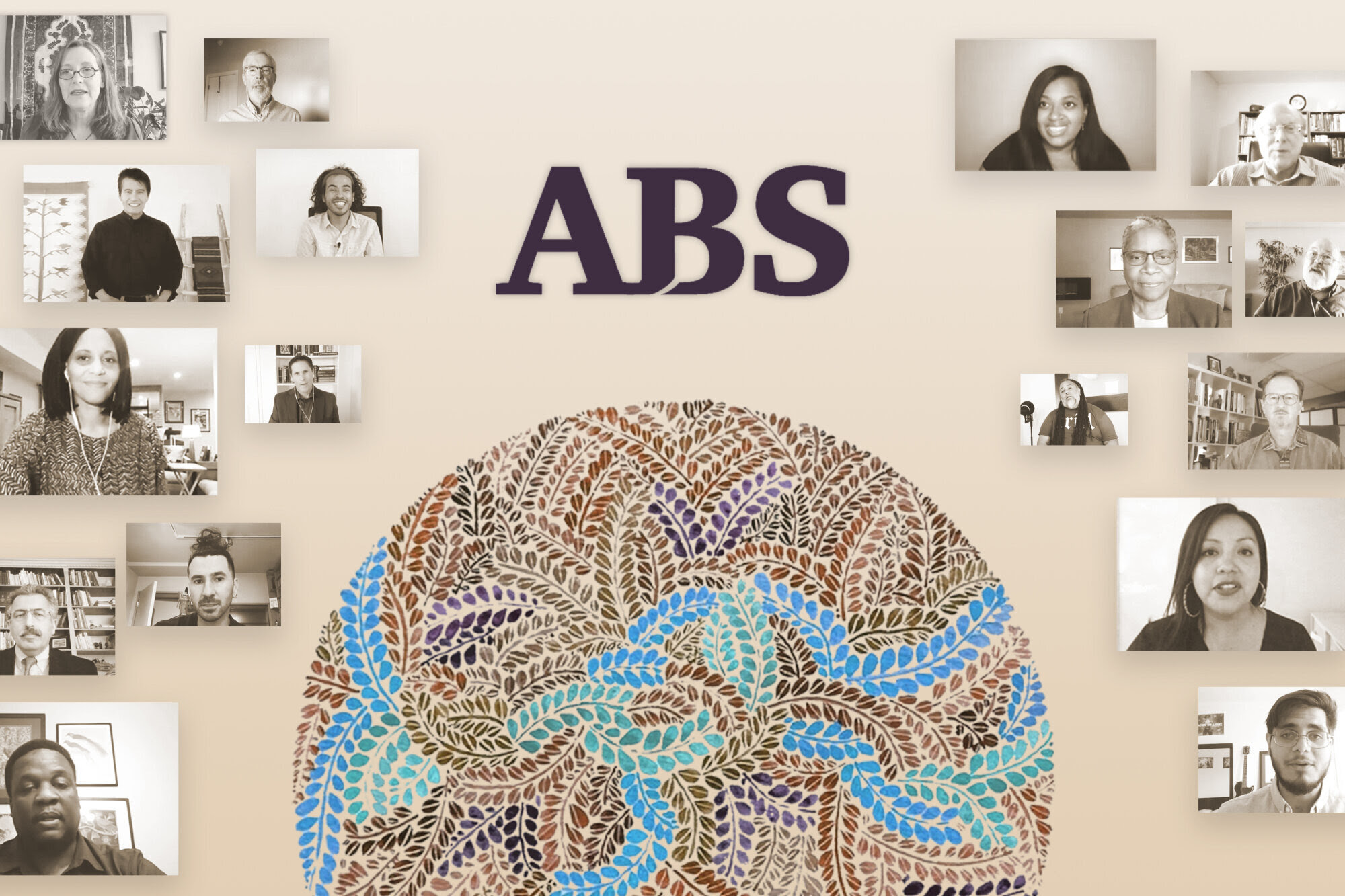 Illustration showing the letters ABS above a circular multi-color pattern of fern leaves, all surrounded by monochrome video-call frames of diverse conference participants.
