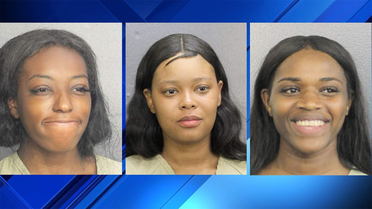 Tymaya Wright (left), Danaysha Dixon (center) and Keira Ferguson (right) were arrested after a violent scene was captured on video Tuesday at Fort Lauderdale's airport.