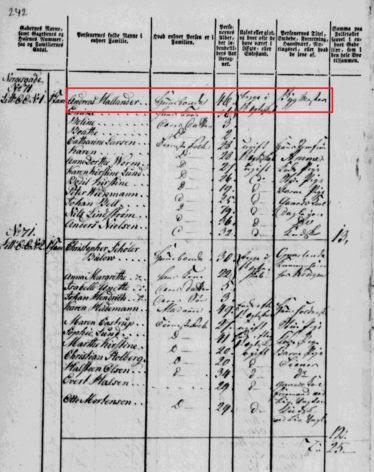 Historical Records 1801 Denmark Census Record of Andreas Hallander