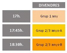 17h: Grup 1 any, 17:45h: Grup 2/3 anys A, 18:30h: Grup 2/3 anys B