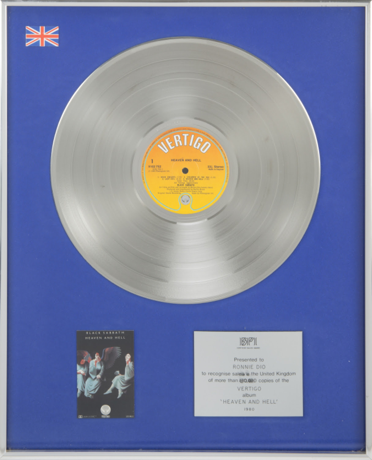 RONNIE JAMES DIO BLACK SABBATH BPI SALES AWARD