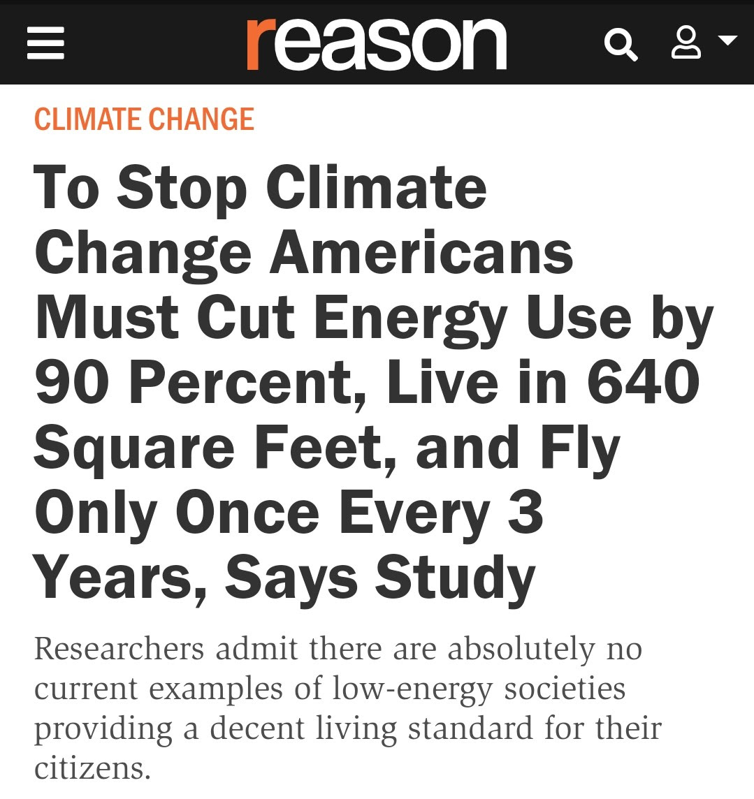 Screen shot of Climate Change story