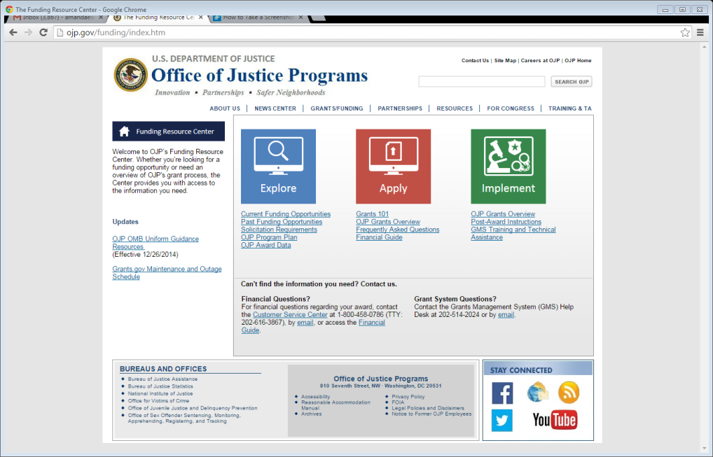 Office of Justice Programs Funding Page