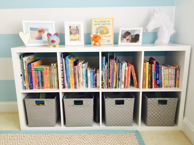 """Baskets make for an easy, """"Toss & Tidy"""" approach to clean-up for kids."""