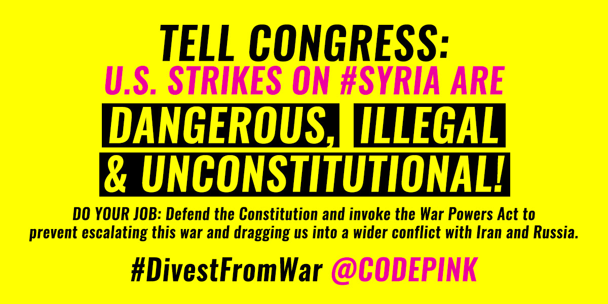 Stop unconstitutional strikes on Syria