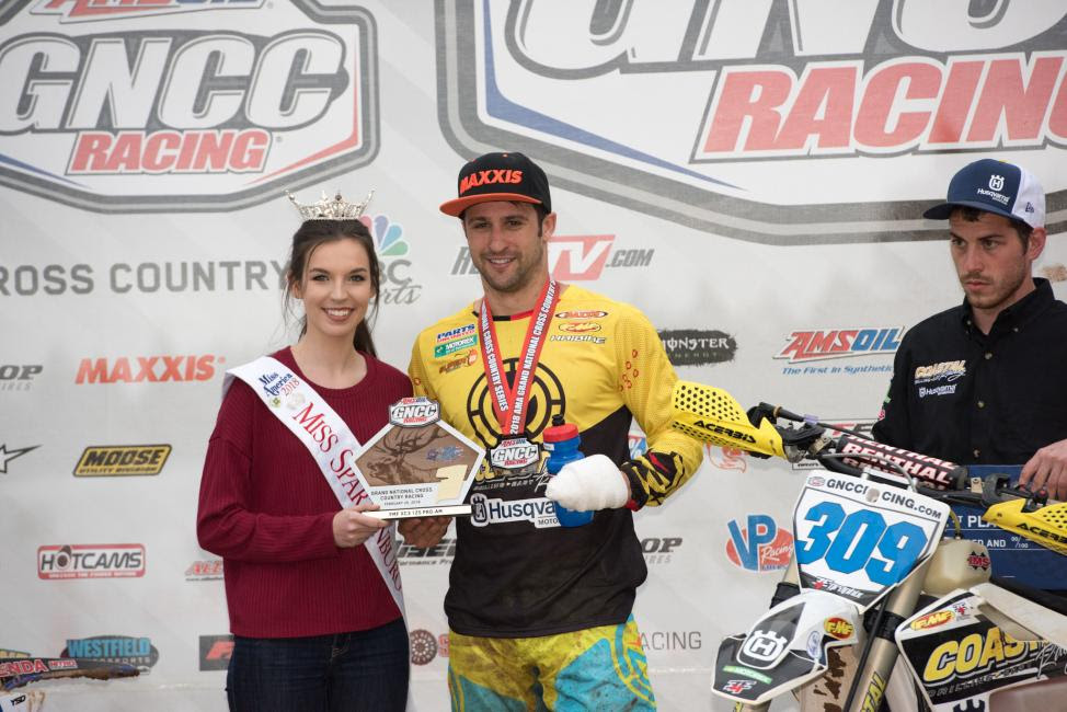 Afterbecoming the 250 A Championlast season, Alex Teagarden earned the FMF XC3 125 Pro-Am class win at round one.