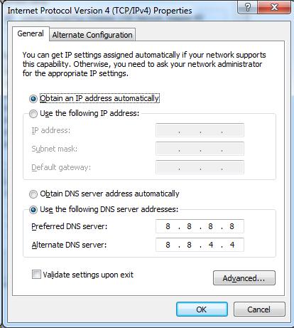DNS settings Google PC