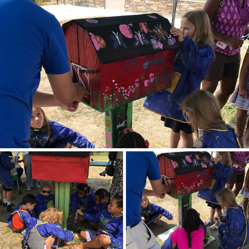 pictures of students painting mail box for Box Tops for Education